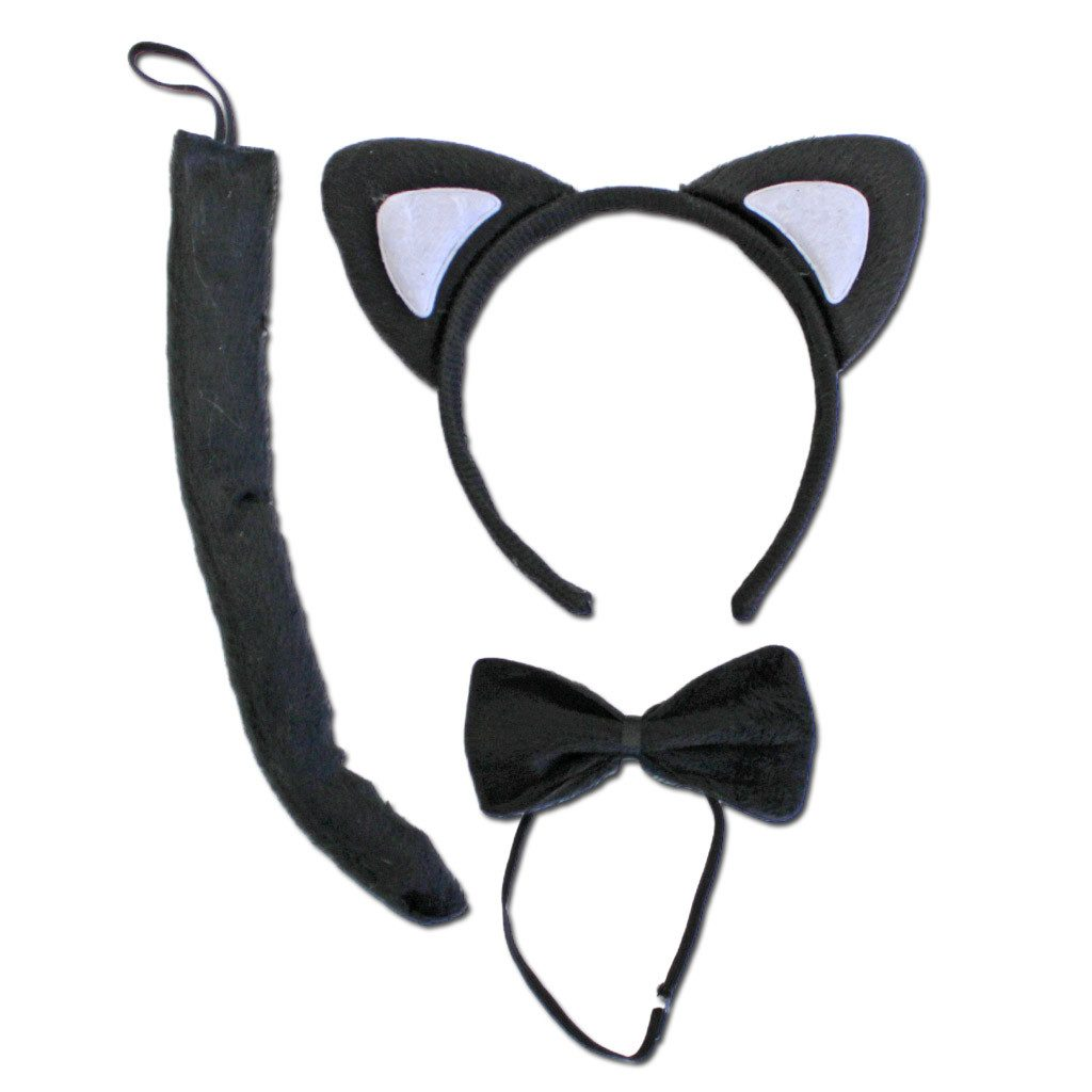 Fancy Dress Costume Accessory - Black Cat Ears With Bow Tie And Tail