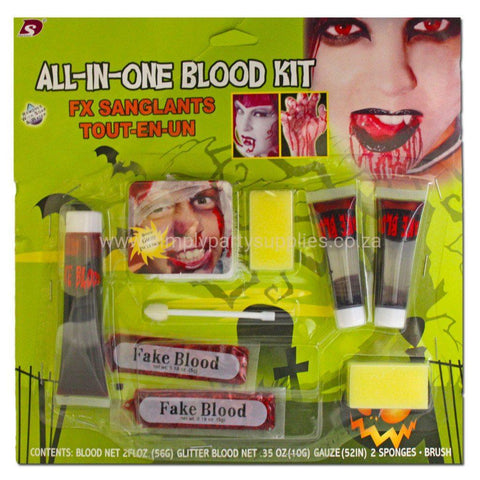 All In One Blood Kit accessories, adult, blood, childrens, dracula, face paint, fancy dress, halloween, makeup, vampires