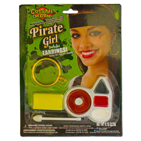 Fancy Dress Costume Accessory - Pirate Girl Face Paint Set With Earing