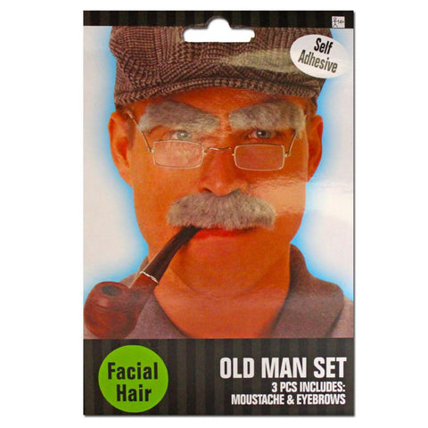 Fancy Dress Costume Accessory - Old Man Moustache 2pc Set