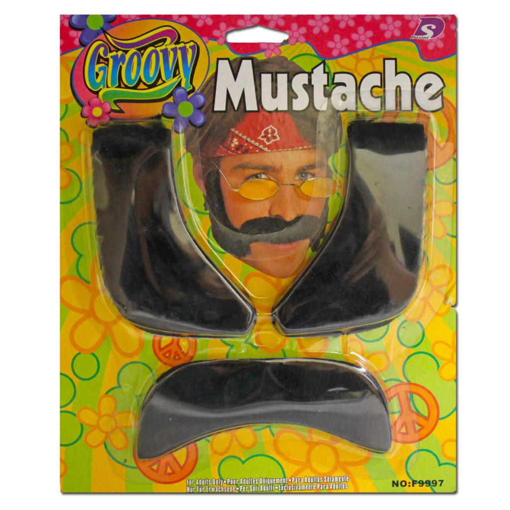 Fancy Dress Costume Accessory - Groovy Black Moustache And Side-burns Set