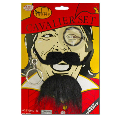 Cavalier Moustache Beard And Monocle Set accessories, beard, black, costume, facial hair, fancy dress, mens, monocle, moustache