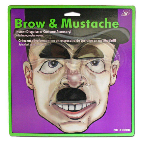 Black Brow And Mini Moustache - Fancy Dress Costume Accessory - Simply Party Supplies