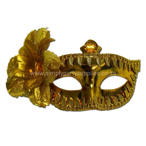 Masquerade Mask - Gold Masquerade Mask Large Flower and Leaf Pattern
