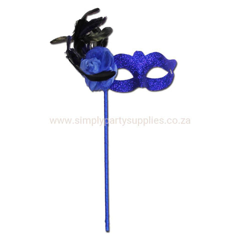 Masquerade Mask - Flower And Feather Stick Glitter Masquerade Mask - Blue