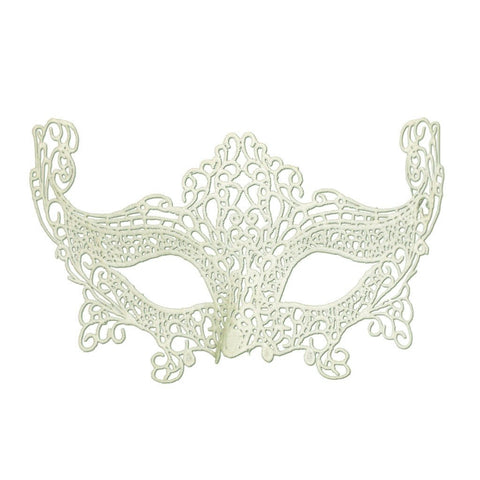Economy String Masquerade Mask With High Sides Cream adult one size, budget, cotton, cream, economy, fancy dress, lace, masks, masquerade, venetian, white, womens