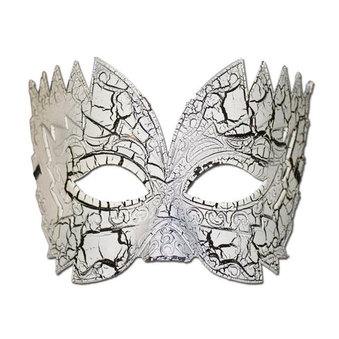 Mens Masquerade Mask Cracked White