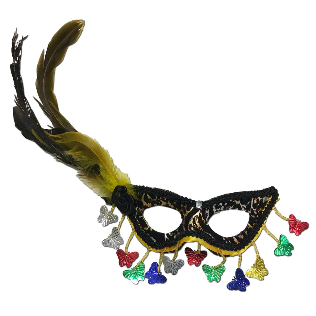 Small Masquerade Mask With Rainbow Butterflys black, blue, carnival, childrens, fancy dress, feathers, girls, green, mardi gras, masks, masquerade, red, rio carnival, silver, womens, yellow