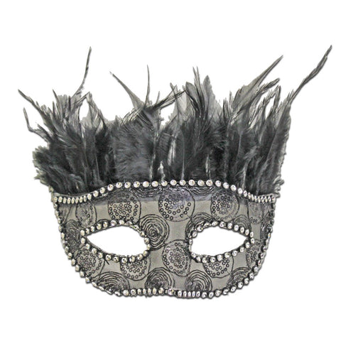 Black Feather Masquerade Mask With Rhinestone Border