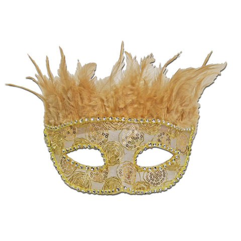 Gold Feather Masquerade Mask With Rhinestone Border