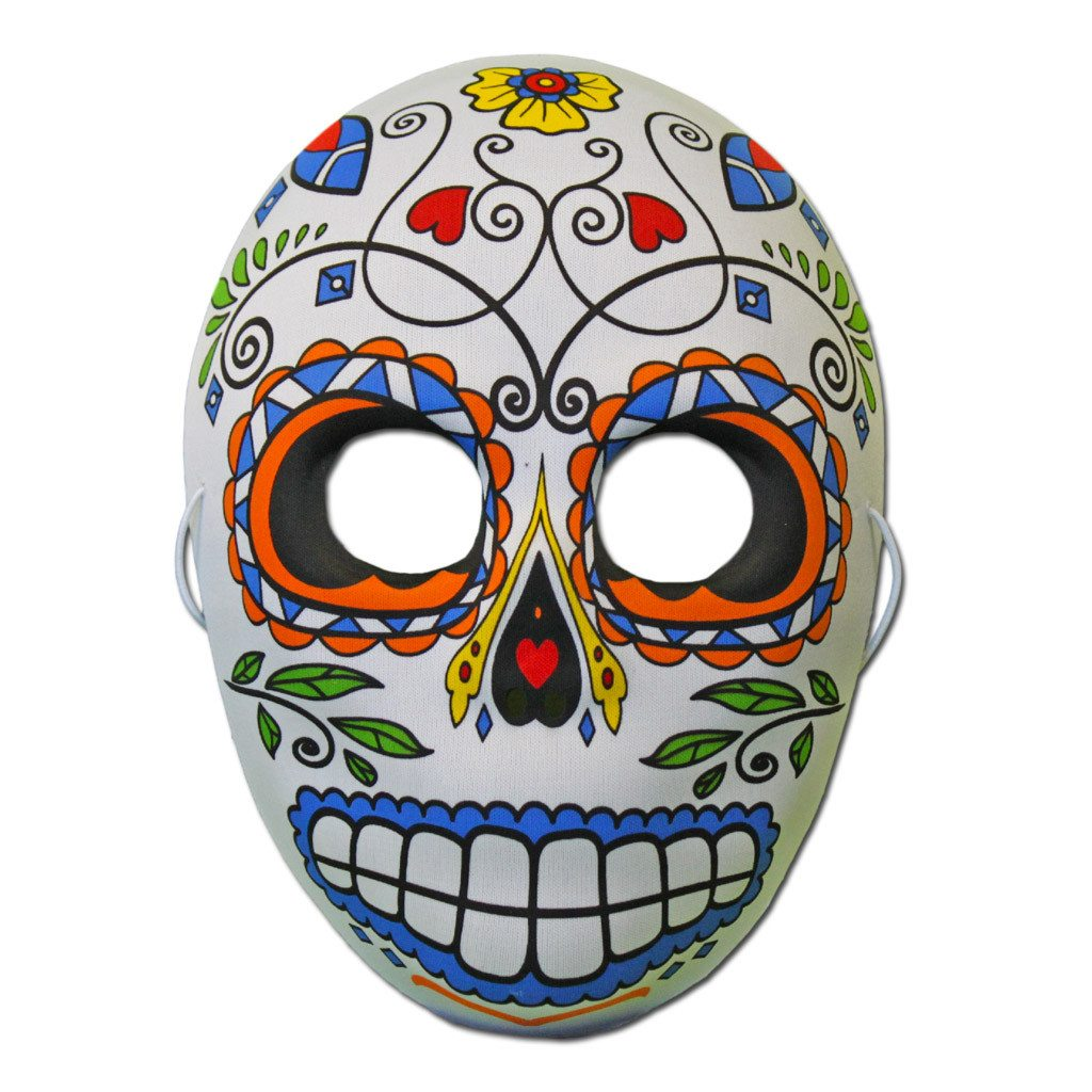 Day of the Dead Skeleton Half Skull Face Masquerade Mask Cool Blue Design