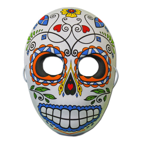 Rubber Mask - Day Of The Dead Masquerade Mask With Flower Design