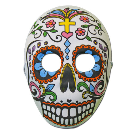 Rubber Mask - Day Of The Dead Masquerade Mask With Cross Design