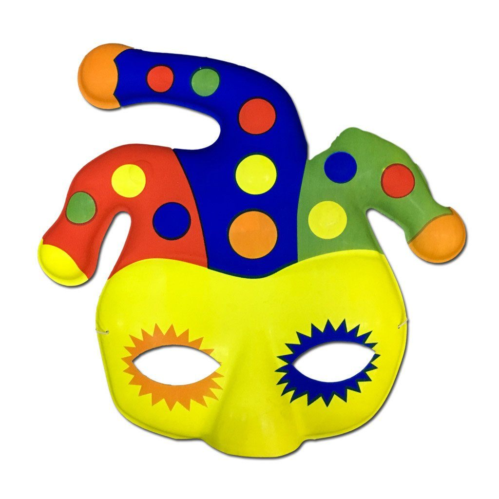 Childrens Plastic Clown Mask - Masquerade Mask - Simply Party Supplies