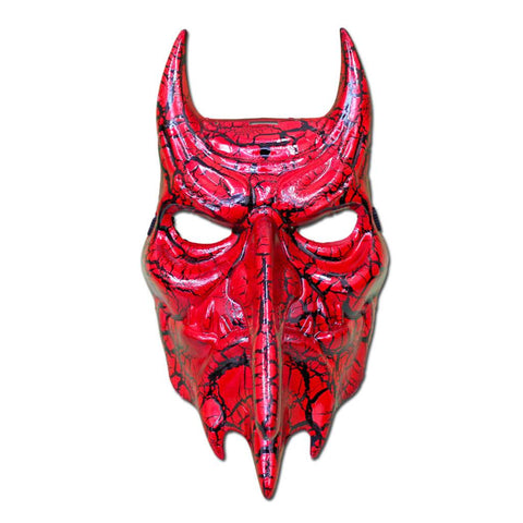 Scary Red Devil Cracked Masquerade Mask adult one size, fancy dress, halloween, masks, mens, red, scary