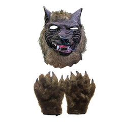 Werewolf Halloween Mask And Claws Set adult one size, claws, fancy dress, gloves, halloween, masks, mens, scary, werewolf, wolf