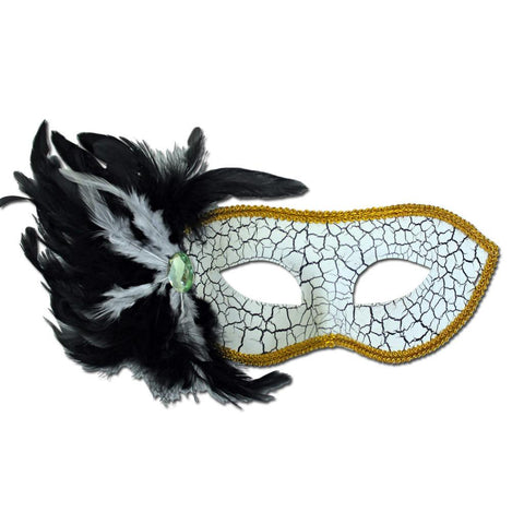 White Cracked Masquerade Mask With Black And White Feathers And Gold Trim adult one size, black, cracked, fancy dress, feather, gold, masks, masquerade, venetian, white, womens