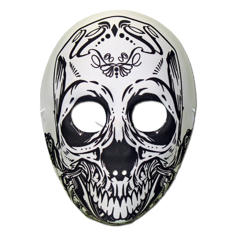Rubber Mask - Day Of The Dead Masquerade Mask - Black Skull #1
