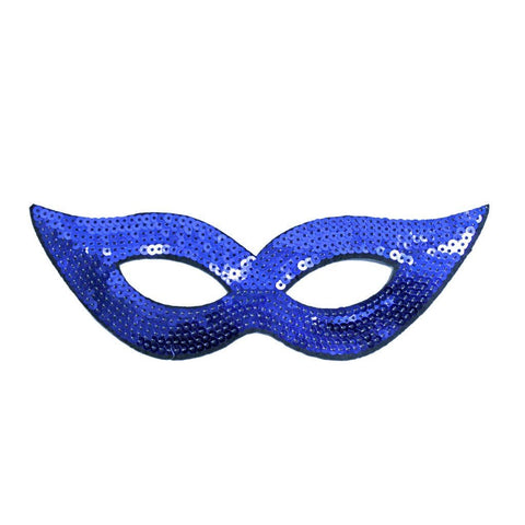 Masquerade Mask - Dark Blue Sequined Masquerade Mask With Cat Eyes