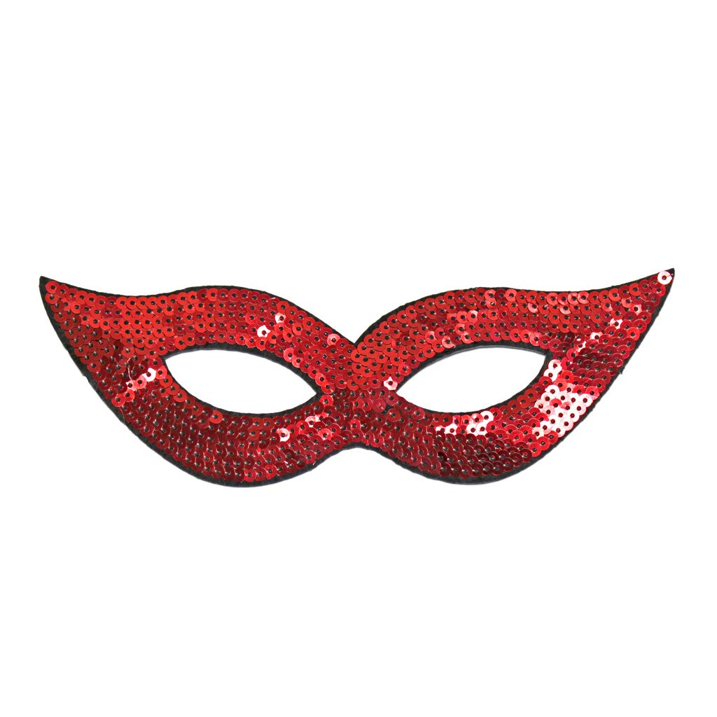 Masquerade Mask - Red Sequined Masquerade Mask With Cat Eyes
