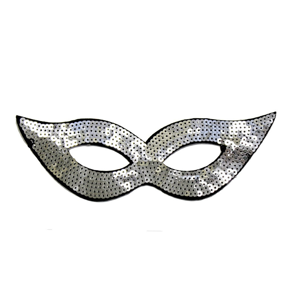 Masquerade Mask - Silver Sequined Masquerade Mask With Cat Eyes