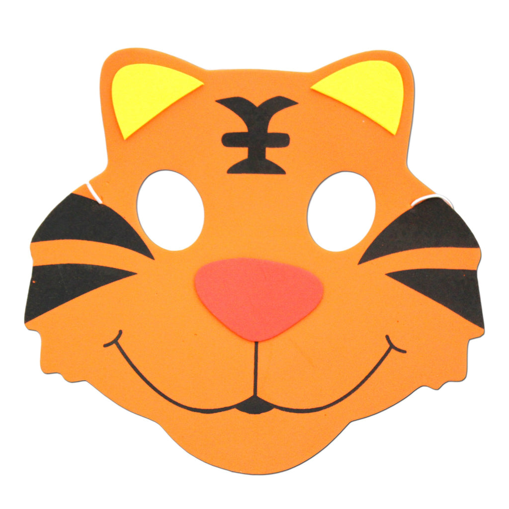 Childrens Masks - Tiger Childrens Foam Animal Mask With Friendly Face