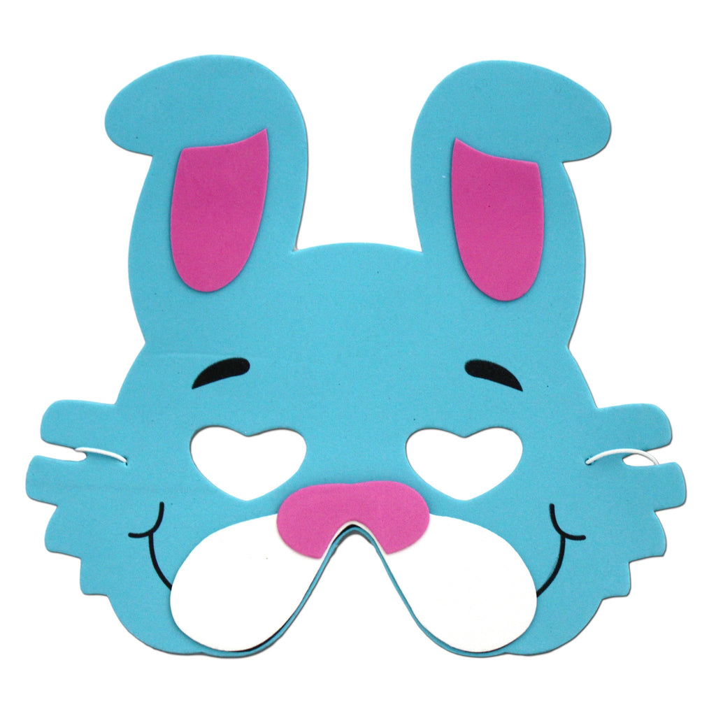 Childrens Masks - Rabbit Childrens Foam Animal Mask - Turquoise Blue