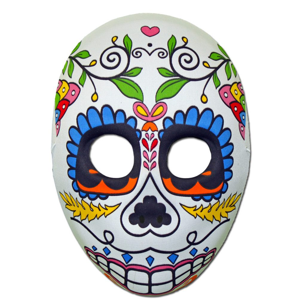 Rubber Mask - Day Of The Dead Masquerade Mask With Heart Design