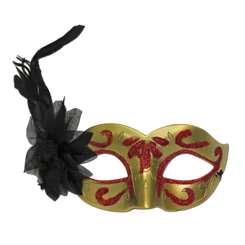 Gold Plain Masquerade Mask With Feather And Red Glitter carnival, fancy dress, feather, feather masks, feathers, glitter, gold, mardi gras, masks, masquerade, red, rio carnival, venetian, womens