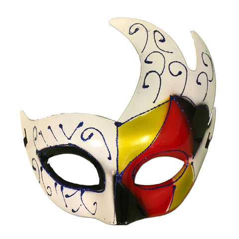Winged Masquerade Mask With White Red Gold And Black