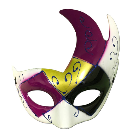 Winged Masquerade Mask With Purple Gold And Black black, fancy dress, gold, masks, masquerade, purple, red, venetian, womens