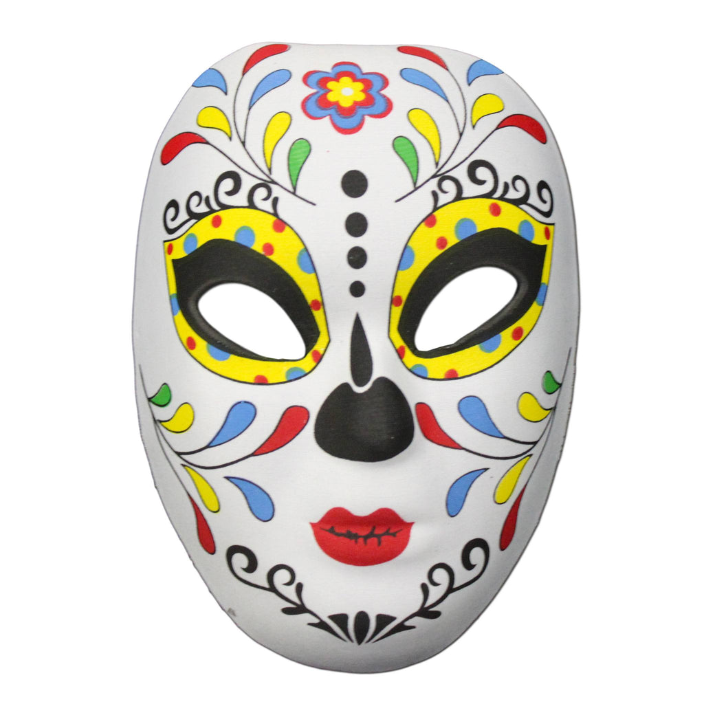 Rubber Mask - Day Of The Dead Masquerade Mask Multicolour Leaf Design