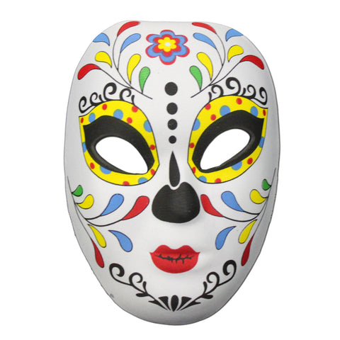 Day Of The Dead Masquerade Mask Multicolour Leaf Design day of the dead, fancy dress, festival, half masks, halloween, masks, skeleton, womens