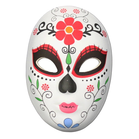 Day Of The Dead Masquerade Mask Flower Head Design day of the dead, fancy dress, festival, half masks, halloween, masks, skeleton, womens