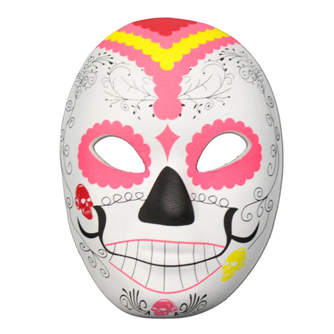 Rubber Mask - Day Of The Dead Masquerade Mask Pink Design