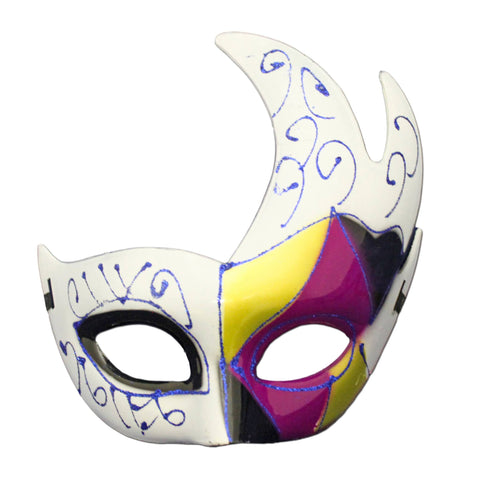 Winged Masquerade Mask With White Gold Purple fancy dress, gold, masks, masquerade, purple, venetian, white, womens