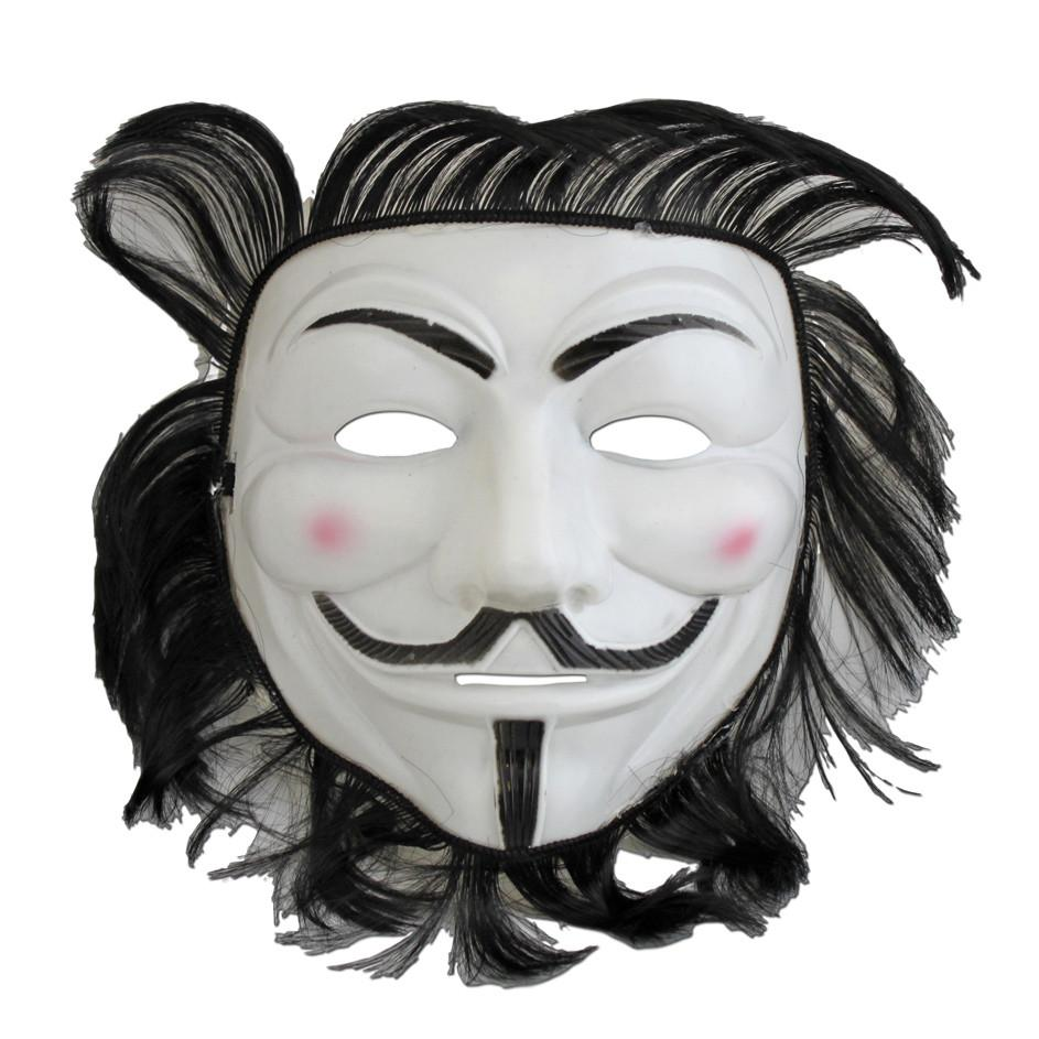 V for Vendetta Anonymous Mask With Hair anonymous, fancy dress, guy fawkes, half masks, heroes, masks, mens, v for vendetta
