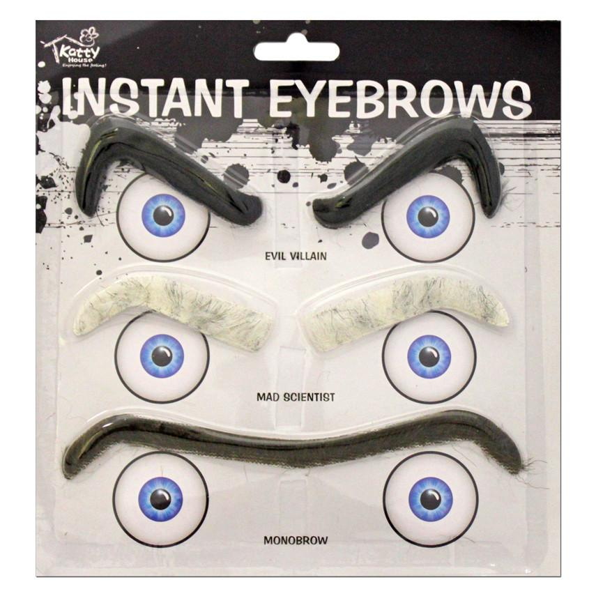 Fancy Dress Costume Accessory - Three Piece Instant Eyebrow Set