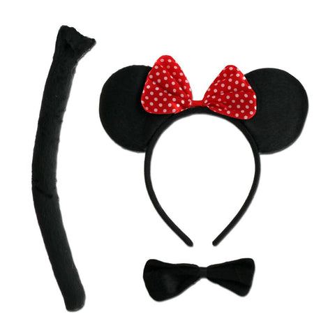 Childrens Mouse Ears, Tail and Bow Tie Set