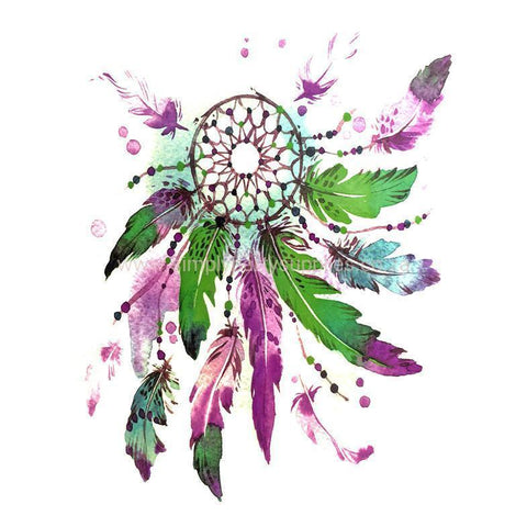 Dream Catcher Temporary Tattoo Themed Sheet - Design 4 colour, dream catcher, feather, sheet, tattoo, themed, wholesale