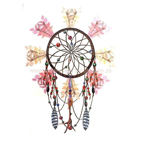 Dream Catcher Temporary Tattoo Themed Sheet - Design 7 colour, dream catcher, feather, sheet, tattoo, themed, wholesale