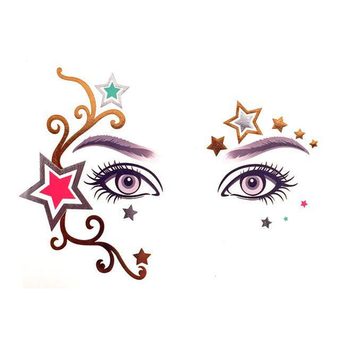 Temporary Face Art Tattoo - Stars colour, face, tattoo, wholesale, womens