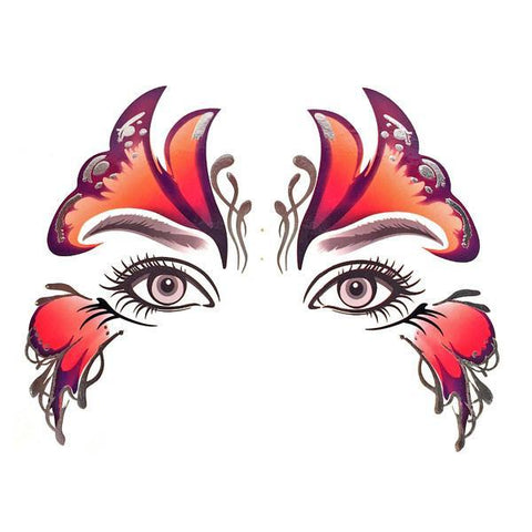 Temporary Face Art Tattoo - Butterfly with Silver colour, face, tattoo, wholesale, womens