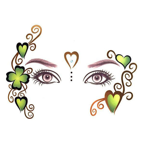 Temporary Face Art Tattoo - Hearts And Clover Leaf colour, face, heart, tattoo, wholesale, womens