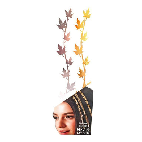 Silver And Gold Metallic Flash Hair Tattoo - Design 4 fancy dress, gold, hair, metallic, silver, tattoo, wholesale, womens