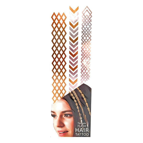 Silver And Gold Metallic Flash Hair Tattoo - Design 5 fancy dress, gold, hair, metallic, silver, tattoo, wholesale, womens