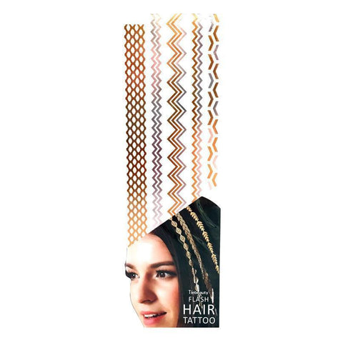Silver And Gold Metallic Flash Hair Tattoo - Design 6 fancy dress, gold, hair, metallic, silver, tattoo, wholesale, womens