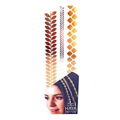 Silver And Gold Metallic Flash Hair Tattoo - Design 7 fancy dress, gold, hair, metallic, silver, tattoo, wholesale, womens