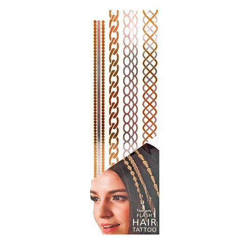 Silver And Gold Metallic Flash Hair Tattoo - Design 8 fancy dress, gold, hair, metallic, silver, tattoo, wholesale, womens