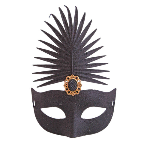 Black Glitter Stone Carnival Masquerade Mask - Masquerade Mask - Simply Party Supplies